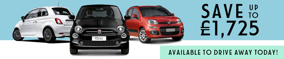 Save up to £1,725 on the Fiat Range