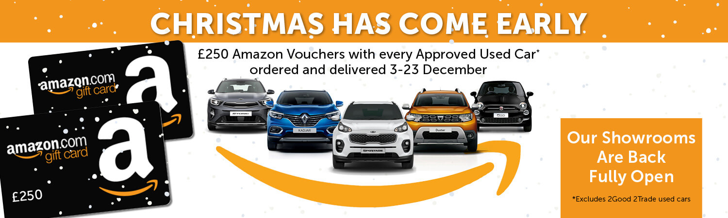 £250 Amazon voucher with every approved used car ordered between the 3rd and 23rd December